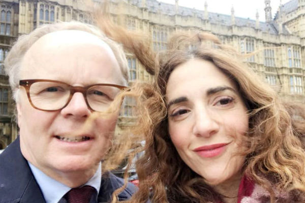 Jason Watkins and Clara Francis outside Parliament